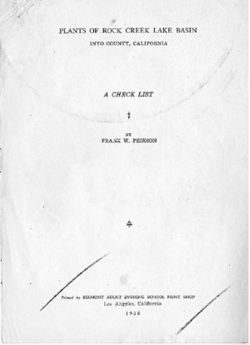 Plants of Rock Creek Lake Basin, Inyo County, California: A Check List, by Frank W. Peirson, 1938