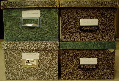 Mary DeDecker's file boxes full of precious notes